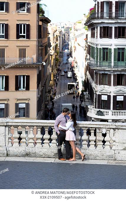 Couple. Terrace view. Spanish steps. Rome, Italy