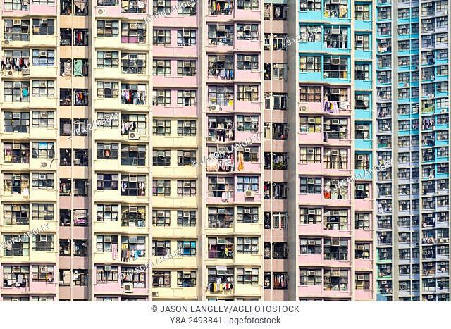 Public housing apartment block towers in Tin Shui Wai, Yuen Long District, New Territories, Hong Kong, China