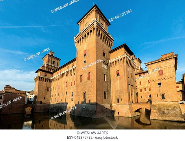 Ferrara, Italy - June 10, 2017: Castle Estense, a four towered fortress from the 14th century, Ferrara, Emilia-Romagna, Italy