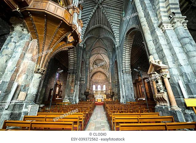 Embrun (Hautes-Alpes, Provence-Alpes-Cote d'Azur, France), interior of the medieval cathedral