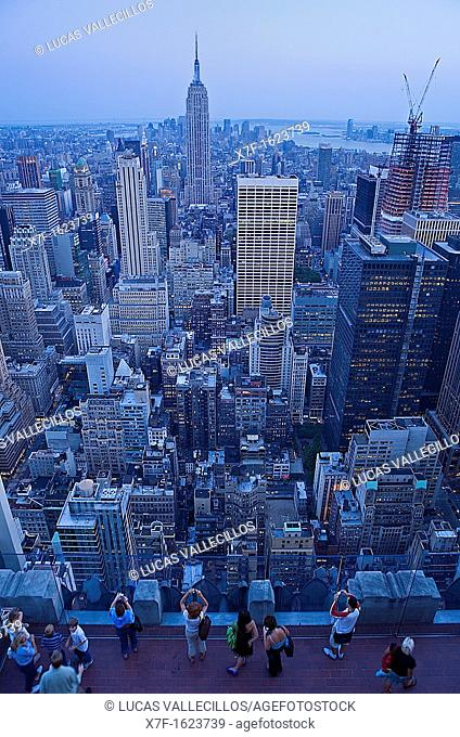 Skyline of Manhattan with Empire state building, as Seen from Top of Rockefeller Center  New York City, USA