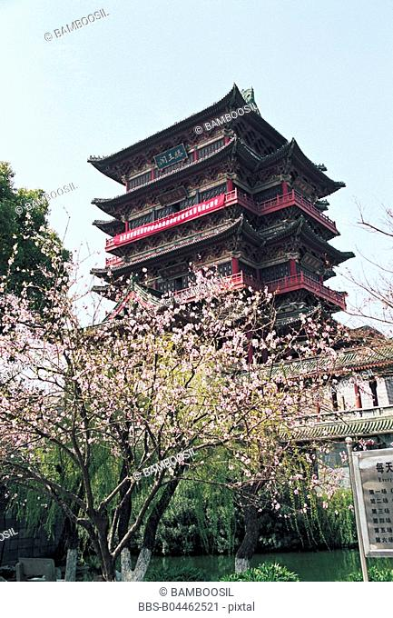 Tengwangge Tower built in Tang dynasty, Nanchang City, Jiangxi Province of People's Republic of China