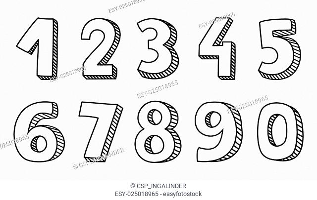 Hand drawn numbers vector isolated