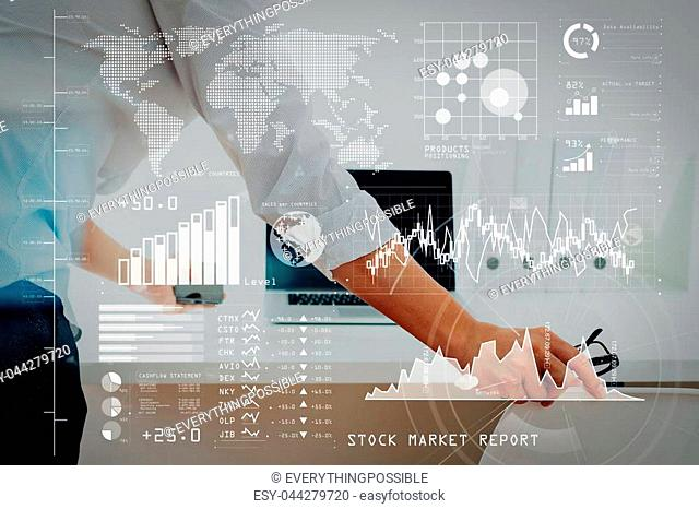 Investor analyzing stock market report and financial dashboard with business intelligence (BI), with key performance indicators (KPI)