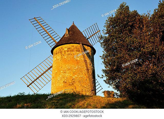 old windmill, Tourtres, Lot-et-Garonne Department, New Aquitaine, France
