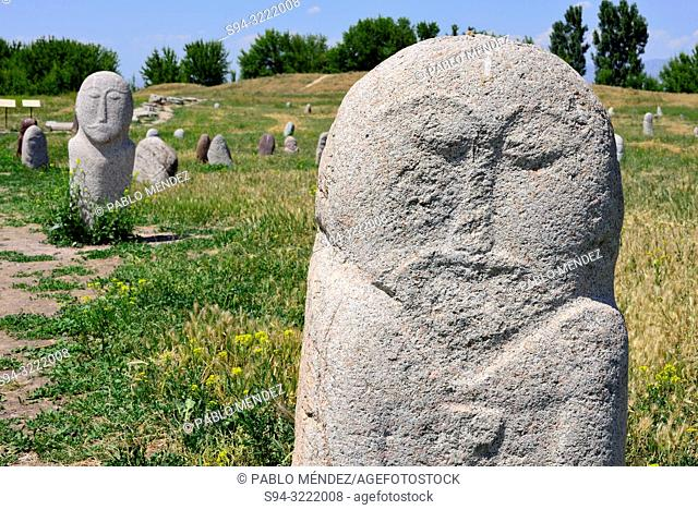 Ancient sculptures, 6th to 10th century in Burana tower area. Balasagun city, Chui province, Kyrgyzstan