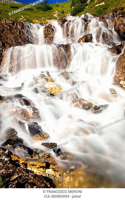 Rocky waterfall, Albula Pass, Graubunden, Switzerland