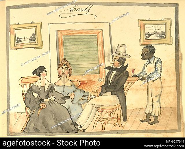 Cards [Two women and a man play cards, while a waiter serves drink.]. Meyers, William H., b. 1815 (Creator). William H. Meyers diary