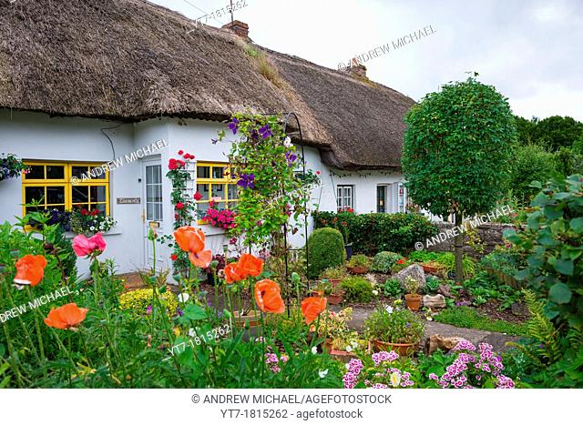 Traditional thatched cottages at Adare, county Limerick, Ireland