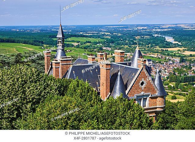 France, Cher, 18, Berry, Sancerre village, castle in autumn