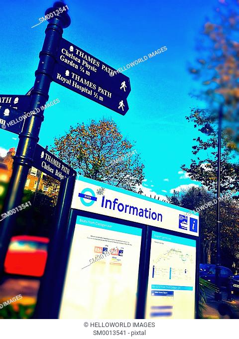 Thames path signs and information, Chelsea, London, England