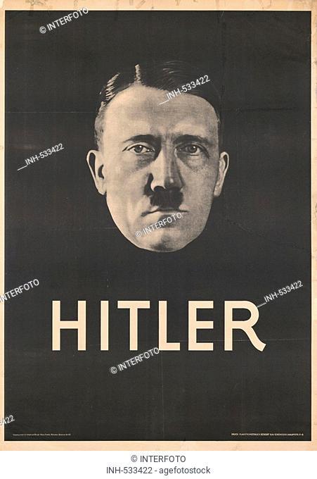 Hitler, Adolf, 20.4.1889 - 30.4.1945, German politician (NSDAP), Führer and chancellor 30.1.1933 - 30.4.1945, portrait, poster, Munich, 1932