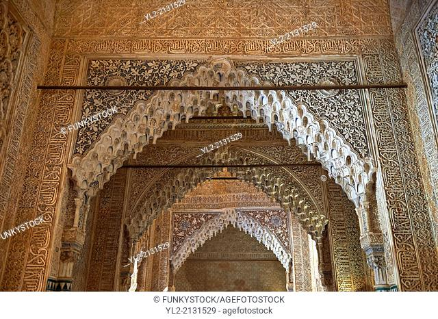 Arabesque Moorish stalactite or morcabe ceilings, Palacios Nazaries of the Alhambra. Granada, Andalusia, Spain