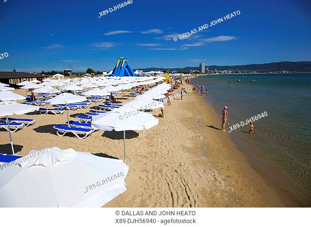 Bulgaria, Europe, Black Sea Coast, Sunny Beach, People enjoying the Beach, Sunshades