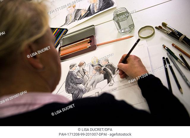 A courtroom artists draws a sketch during the start of the Loveparade trial at the CCD Ost congress centre in Duesseldorf, Germany, 8 December 2017