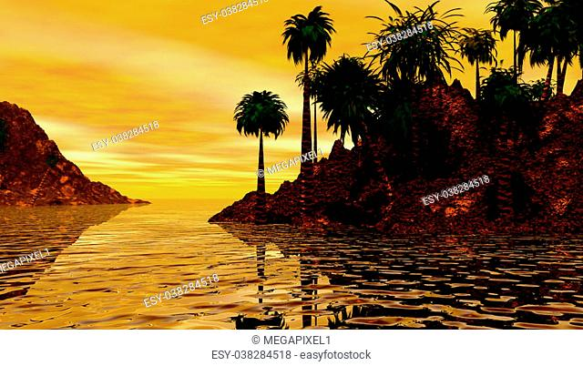 THIS IS AN IMAGE OF AN ISLAND IN THE SOUTH PACIFIC, SETTING IN A GOLDEN SUNSET