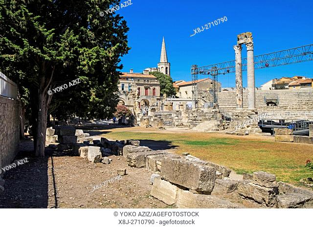 France, Provence, Arles, old town, Gallo-Roman theatre, Roman theater 1st century BC, a historical monument