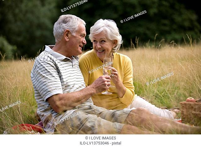 A senior couple having a picnic, drinking champagne