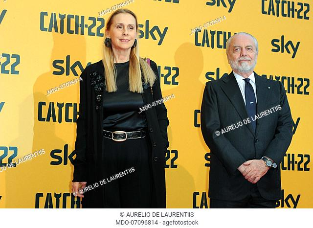 Italian film producer Aurelio De Laurentiis and his wife attend the premiere of the Sky TV serie Catch-22. Rome (Italy), May 13th, 2019