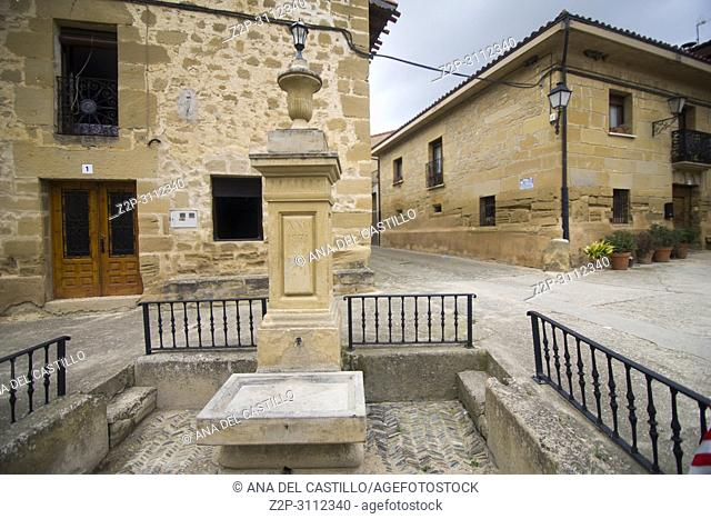Medieval village of Sajazarra in La Rioja Spain. Fountain detail