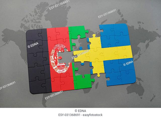 puzzle with the national flag of afghanistan and sweden on a world map background. 3D illustration