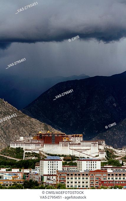 Lhasa, Tibet, China - The view of Potala Palace with Lhasa City in the daytime