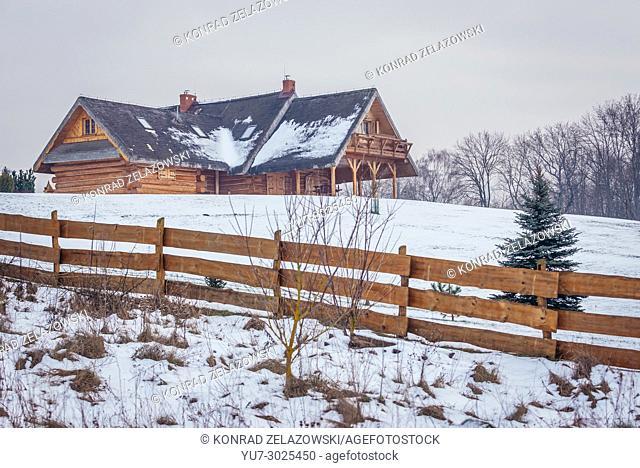 Modern wooden house in Kruszyniany village, former Polish Tatars settlement within Sokolka County, Podlaskie Voivodeship of Poland