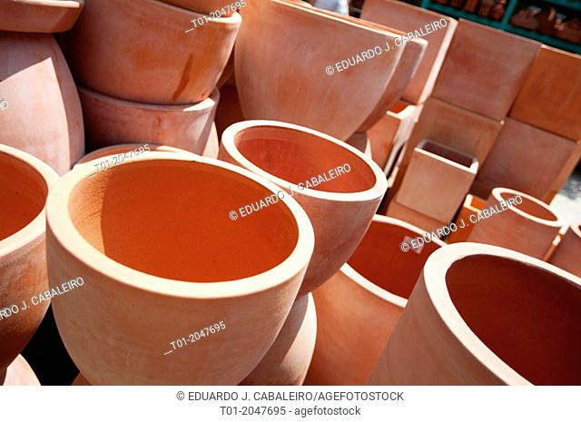Clay pots in crafts store in Benacazon. Seville. Andalusia. Spain