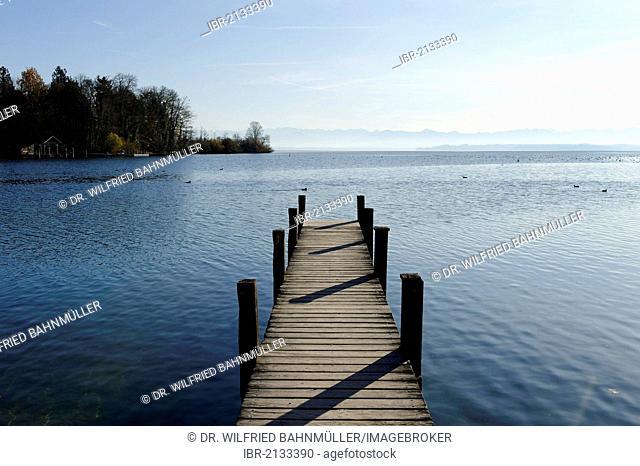 Jetty to Rose Island, Feldafing, Wittelsbacher Park or Lenné Park, Lake Starnberg, West Bank, Five Lakes region, Upper Bavaria, Bavaria, Germany, Europe