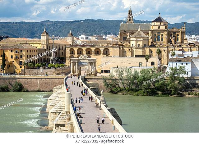 Looking across the Guadalquivir river and Roman bridge to the Mezquita, cathedral and historic centre of Cordoba, Andalucia, Spain