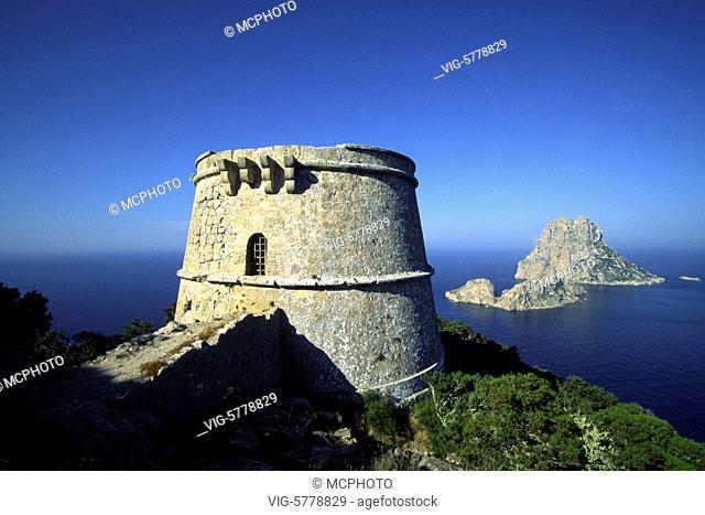 Blick auf den Felsen Es Vedra, Ibiza, 2003, Mittelmeer - Ibiza, Balearen, Spain, 19/05/2003
