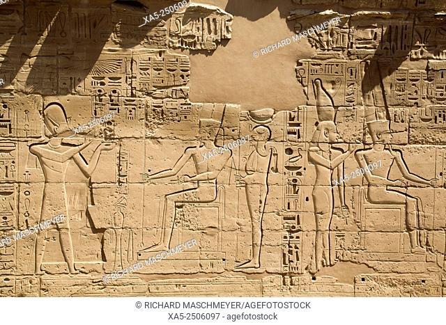 Bas-relief of Gods and Pharaohs, Karnak Temple, Luxor, Egypt