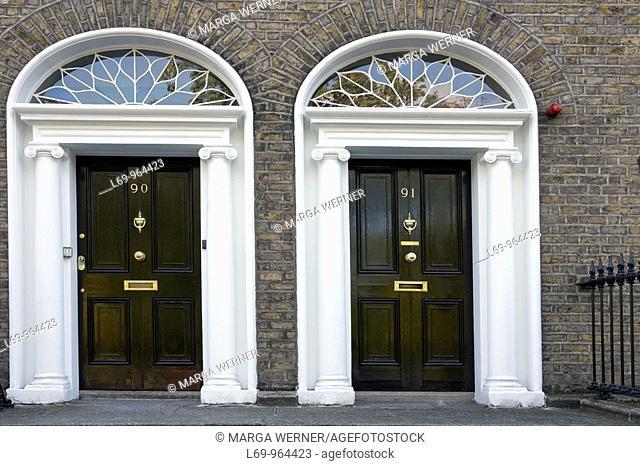 Doors in historic Georgian Dublin, Ireland