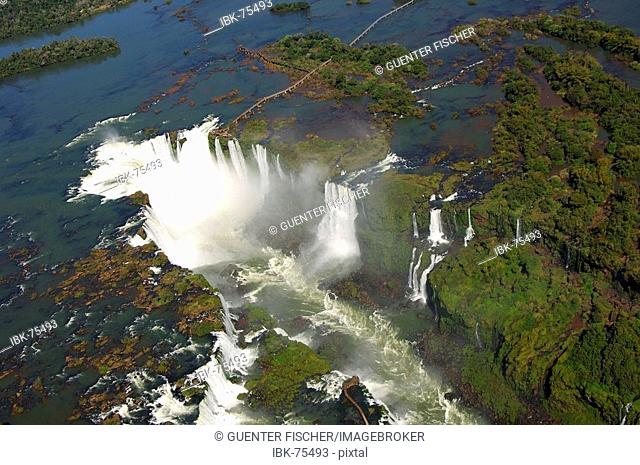 Devil's throat Iguazu Waterfalls aerial view observations platform Argentina centre above Brazil centre below Argentina Brazil