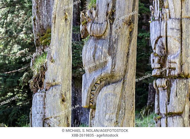 Rotting cedar totem poles in S'G̱ang Gwaay Haida Village, Ninstints, Haida Gwaii, Anthony Island, British Columbia, Canada