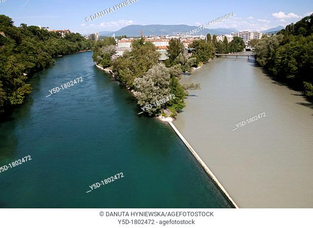 Geneva Jonction, place where two rivers Rhone-left and Arve-right connect and from this place one river - Rhone flows further, Switzerland, Europe