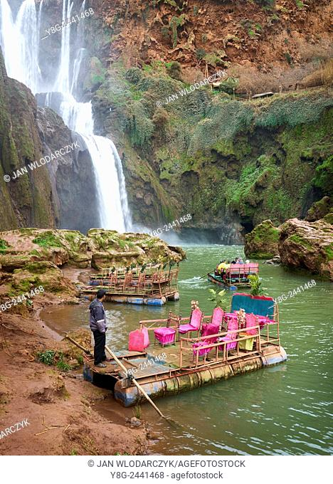 The raft waiting for tourists at the Ouzoud Waterfall. High Atlas, Morocco