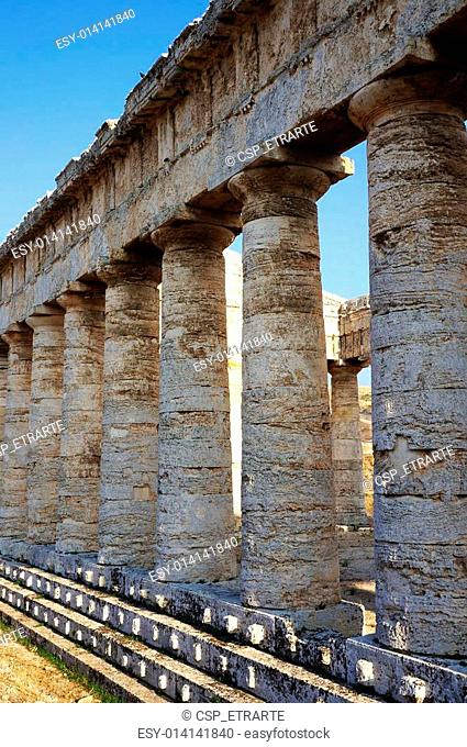 the monumental colonnade of the greek temple of Segesta in Sicily