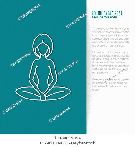 Yoga pose flat line icon, vector design of advertising booklet mockup - woman in bound angle pose, white outline logo with side shadow