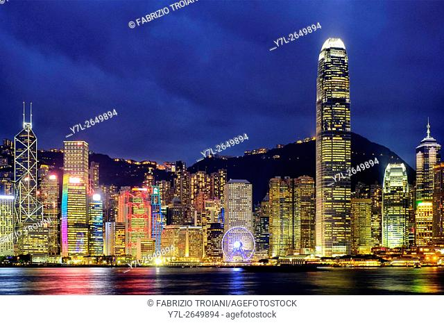 Hong Kong island skyline from Victoria Harbour, Hong Kong, China