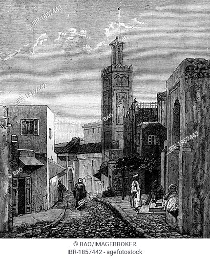 A mosque and street in Tangier, Morocco, historic image, 1883