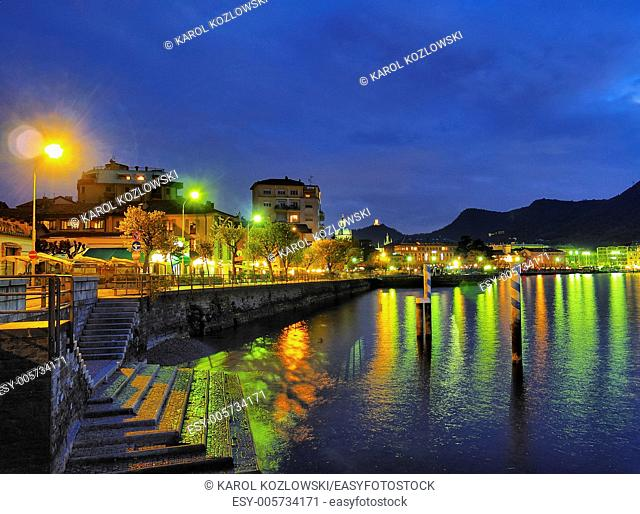 Night view of Como, italian city with a beautiful lake in a province of Lombardy