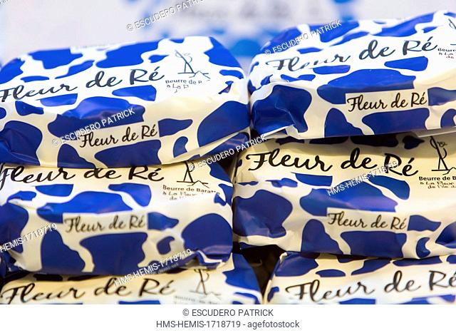 France, Charente Maritime, Ile de Re, Le Bois Plage en Re, butter on a dairy products stall in the covered market