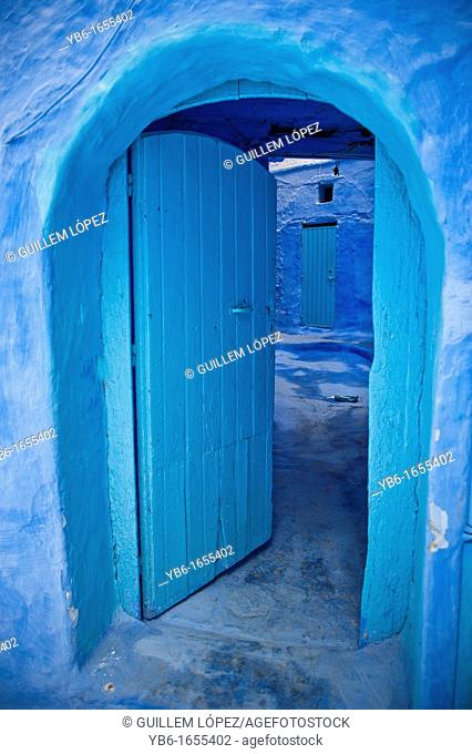 Blue doorway in the blue walled old medina of Chefchaouen, Morocco