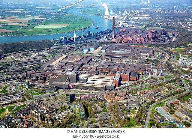 Aerial view, workers of IG Metall, ThyssenKrupp Headquaters, Duisburg-Bruckhausen, Duisburg, Ruhr district, North Rhine-Westphalia, Germany