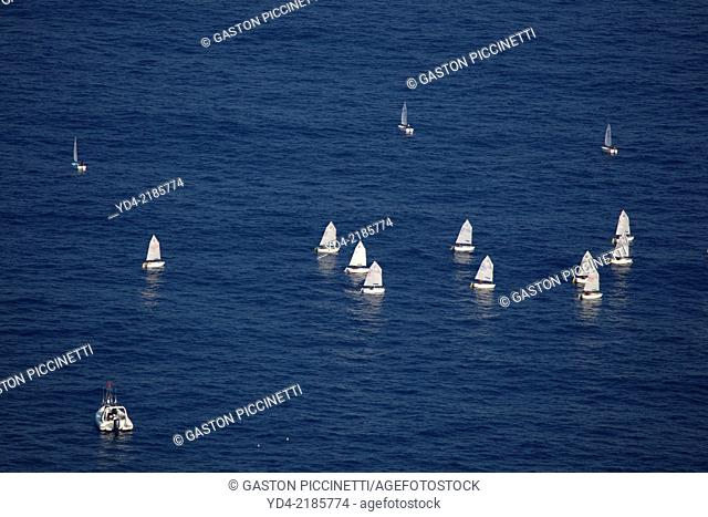 Aerial view of a boat race in the notrh of the island, Mallorca, Balearic Island, Spain