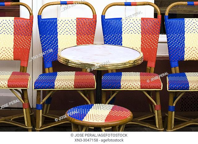 Chairs with the French flag, Restaurant Chez Eugene, Place du Tertre square, Montmartre, 18th arrondissement, Paris, France, Europe