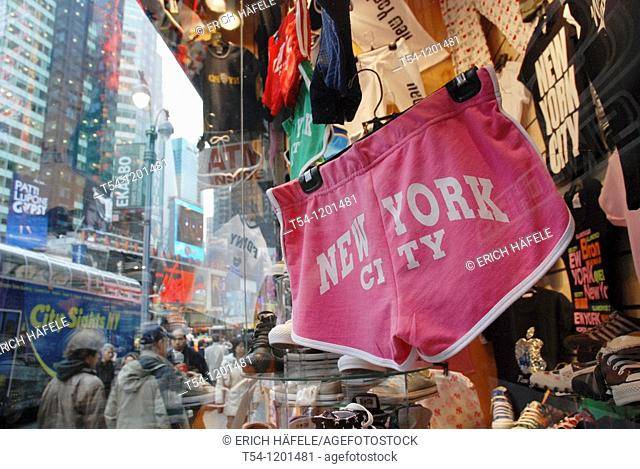 Underpants with the words New York City in a shop window at Times Square