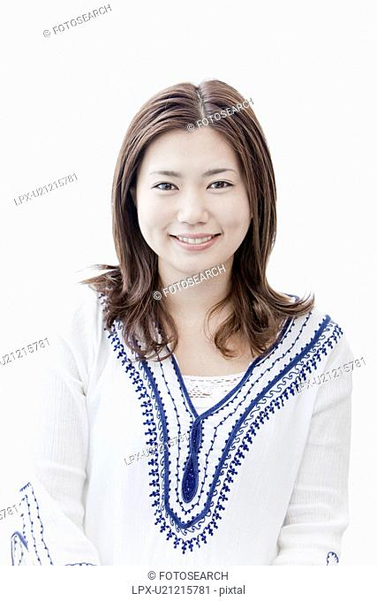 Portrait of young woman, Tokyo Prefecture, Honshu, Japan