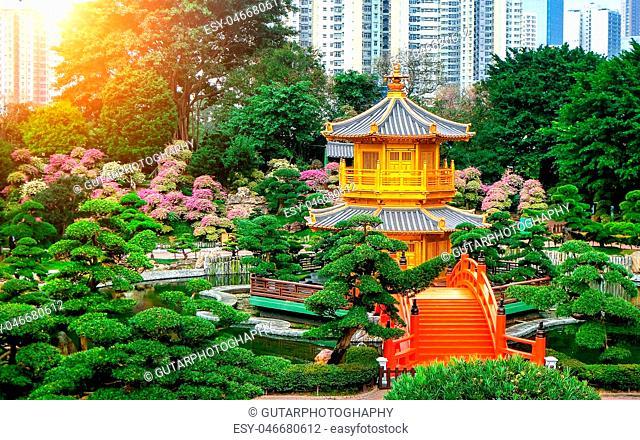 The Golden Pavilion of absolute perfection in Nan Lian Garden in Chi Lin Nunnery, Hong Kong